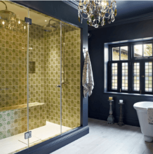 interior & design llc Chandelier in Bathroom